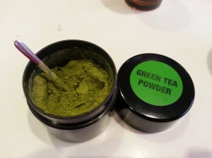 Proper powdered green tea, not tea bags!