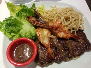 Our steak and prawns