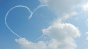Drawing a heart in the sky