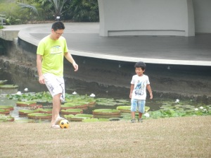 Ellery playing soccer with Daokai