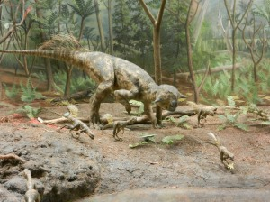 Psittacosaurus family by the pond