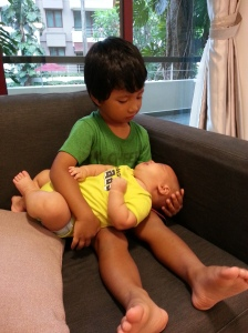 Carrying his cousin