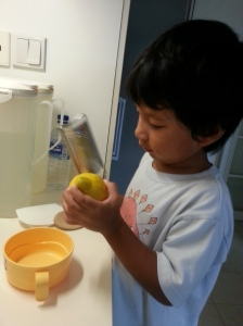 My little helper grating the zest