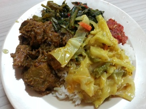 Beef rendang, sambal kangkong, sayur lodeh, with sambal chilli