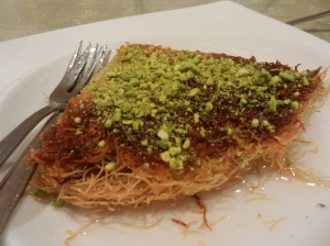 Kenefe decorated with pistachios