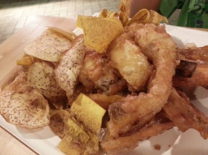 Fish with sweet potato fries, plantain chips and yam chips