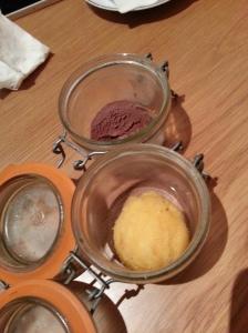 Sorbet in jars