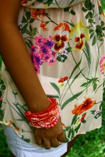 Island Bracelet paired with the Flowers of Paradise Tunic