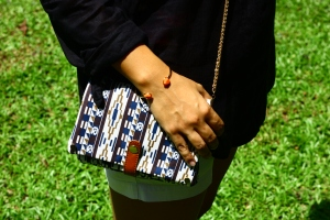 Urban Safari Crossbody Bag with the Sandy Beachers Coral Bracelet