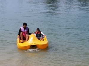 Into the paddle boat