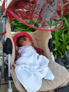 Alyssa sleeping soundly while we swam