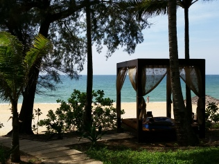 Many beachfront cabanas to relax in