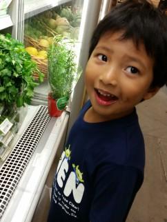 Looking at veggies and fruit at Cucina