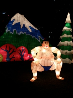 Sumo wrestler and Mount Fuji in Japan