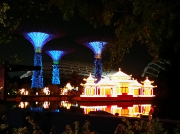 Floating lantern against a backdrop of supertrees