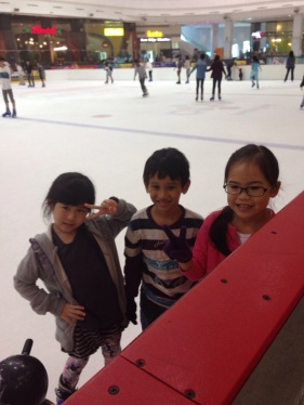 With his classmates on the ice