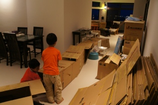 Making a tunnel of boxes to race through