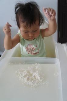 Tried to let Alyssa play with flour but...