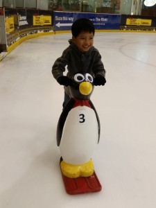 Ellery with a penguin