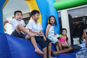 Some of the kids in the bouncy castle