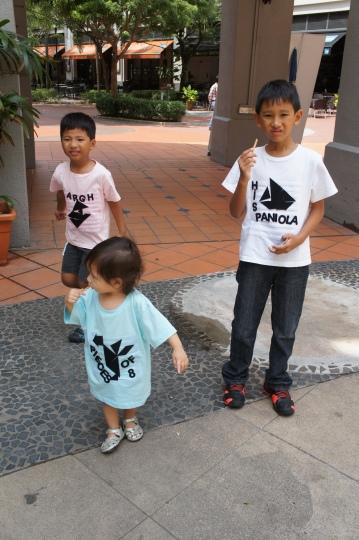 Siblings with Treasure Island themed tees